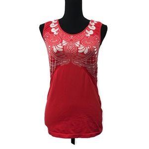 Athleta Red Patterned TankTop Workout Wear Size XL